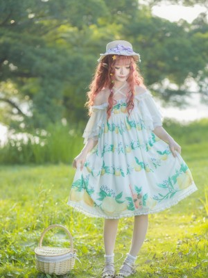 'Yukari on summer night' Chiffon Ruffle Sleeve One-piece