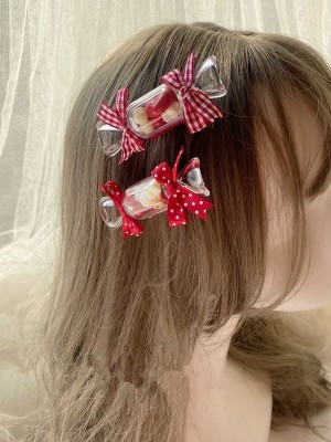 A Pair of Transparent Candy Hair Clips