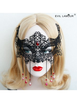 Black Lace Red Diamond Mask