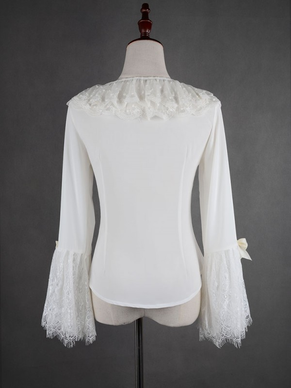 Flower-choosing Girl  Eyelash Lace Tight Trumpet Sleeve Blouse