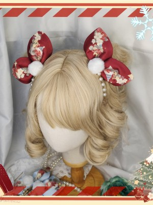 Christmas Sheep Bow Rabbit Ear Hair Clip