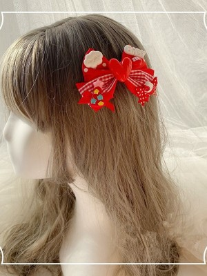 Cute Red Heart Bowknot Hair Clip