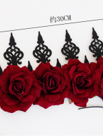 Gothic Red Rose Queen Halloween Crown