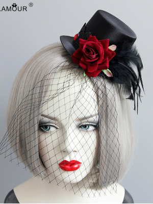 Gothic Rose Feather Mini Top Hat