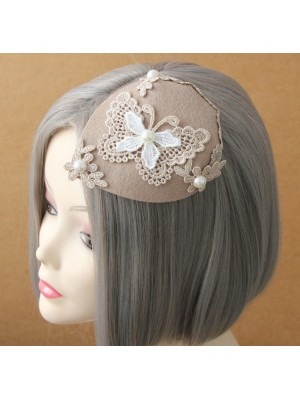 Lace Butterfly Pearl Lady Mini Top Hat