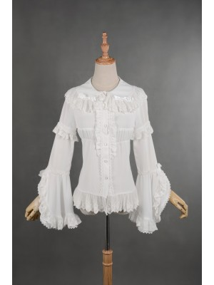 Madeline Detachable Trumpet Sleeve Chiffon Blouse
