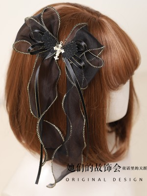 Cross With Wings Gothic Hair Clip