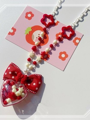 Red Transparent Heart Bowknot Necklace