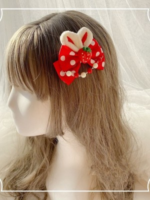 Strawberry Rabbit Ears Bowknot Hair Clip