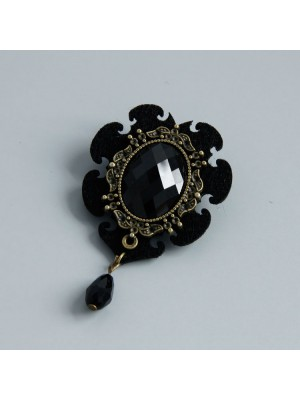 Vintage Black Manmade Diamond Brooch