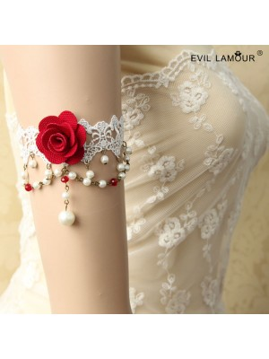 White Race Red Flower Armband