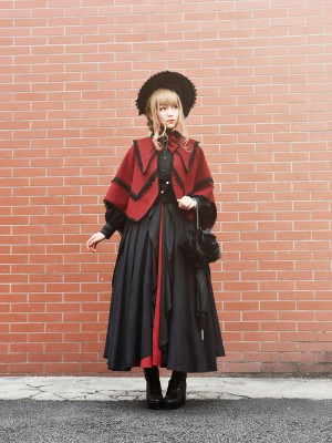 +Plain Doll+  Retro Gothic Peak Collar Vampire Style Cape 001