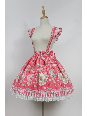 Strawberry Rabbit Suspender Skirt