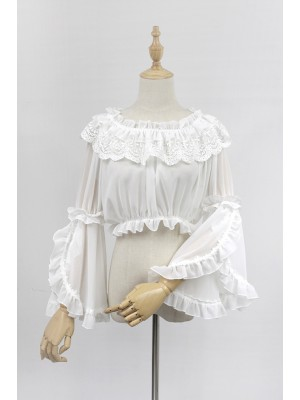 Chiffon Long Trumpet Sleeve Short Blouse